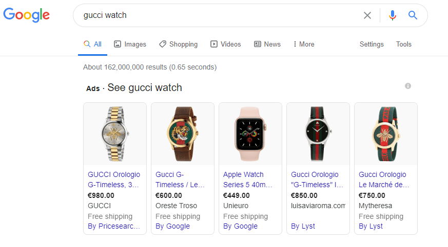 SERP example typing Gucci Watch