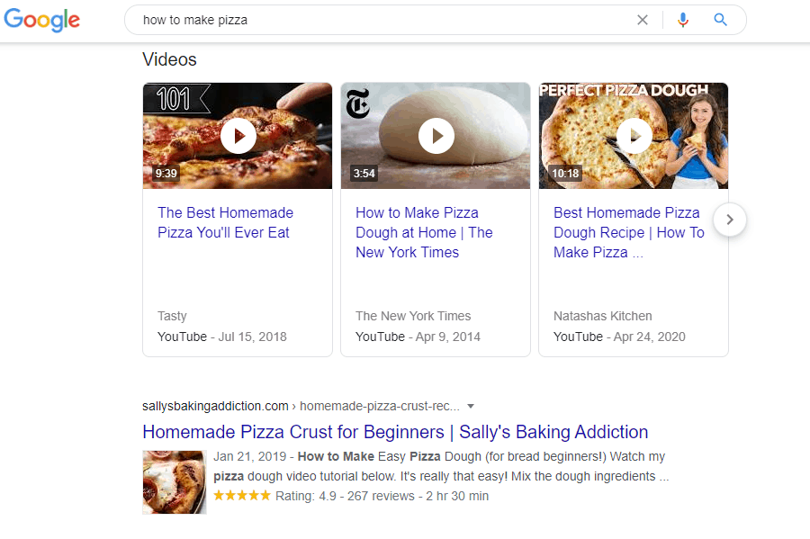 "Google SERP typing ""how to make pizza"""