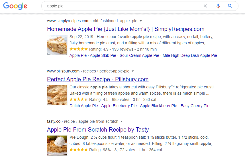Rich snippet example typing apple pie