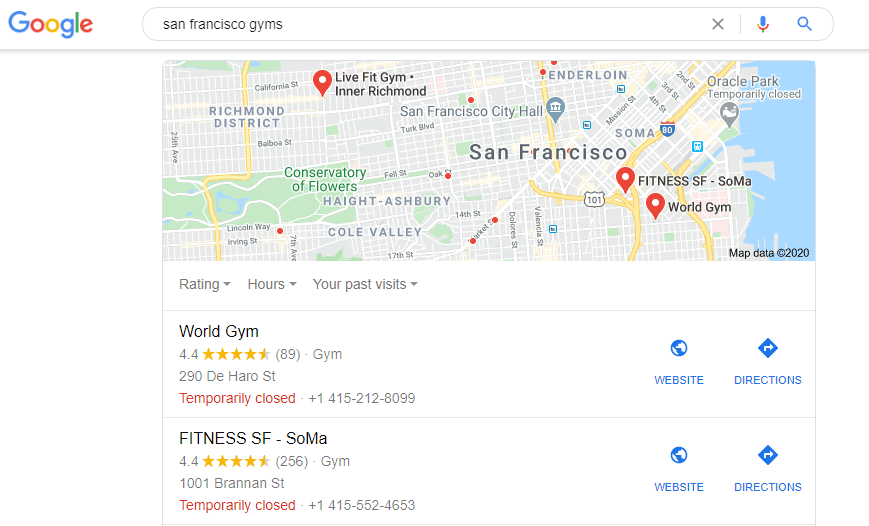 Google My Business SERP example