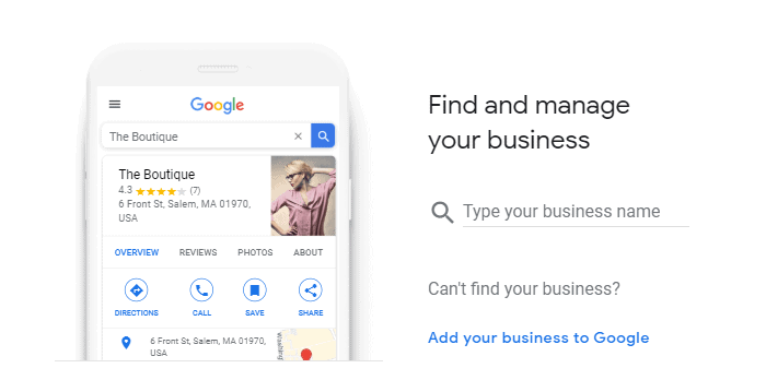 Google My Business first page