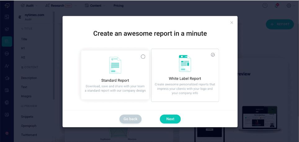 Creata a Report with SEO Spider