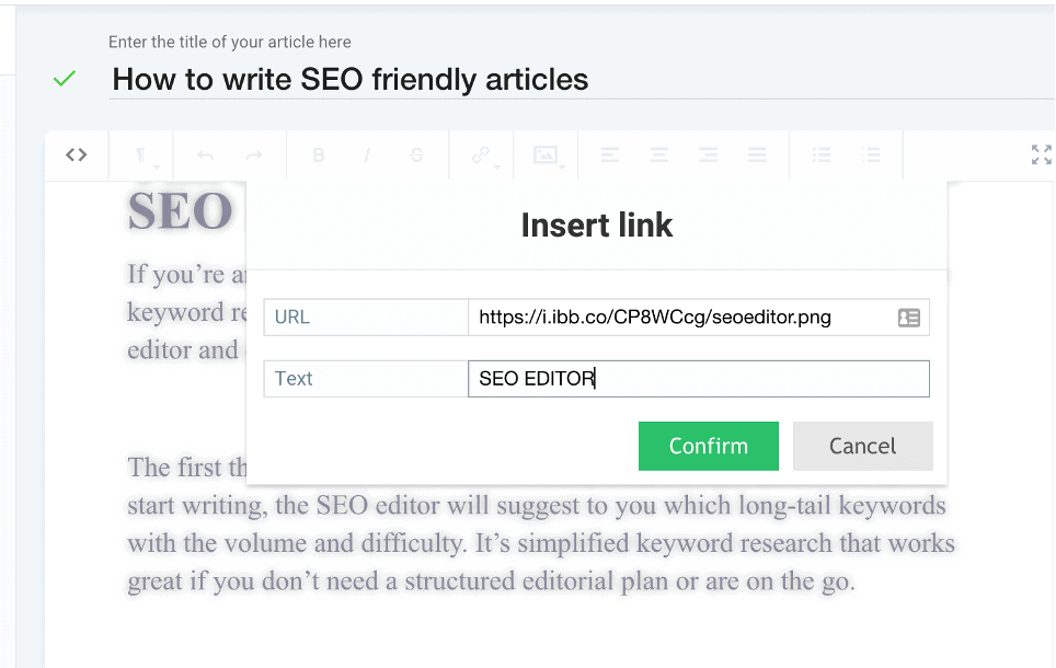 SEO Editor Text