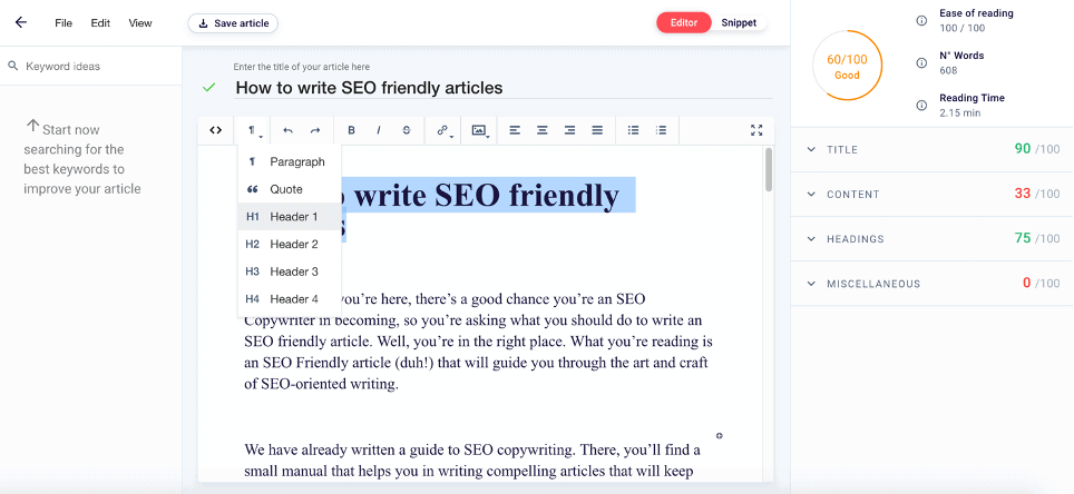Write SEO Frienly Content